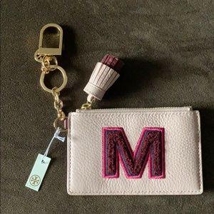 """Tory Burch """"M"""" Monogram Card Case Key Fob"""